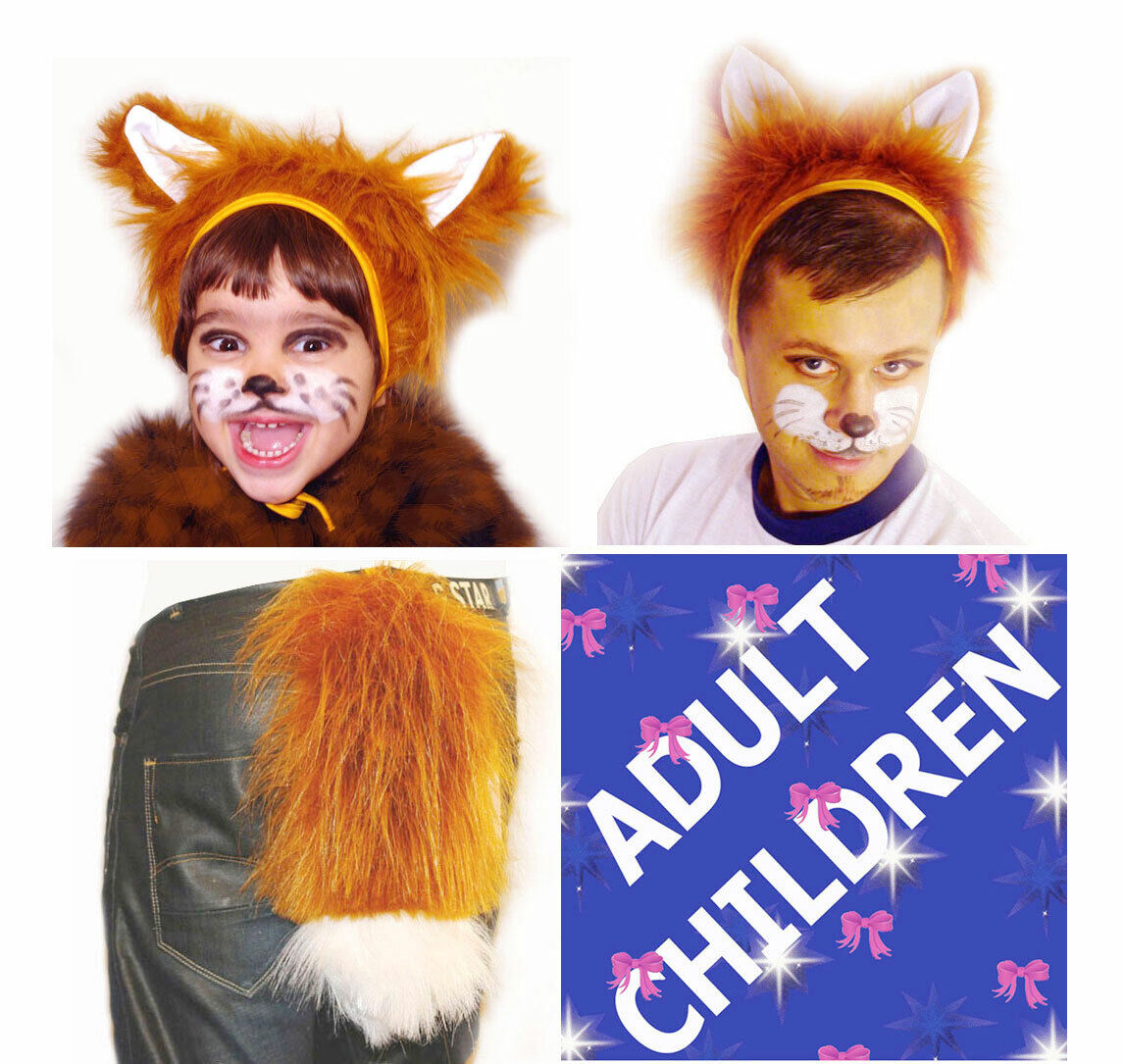 Fox Fancy Dress Set Hat with Ears & Tail Children Adult Carnival Costume Party