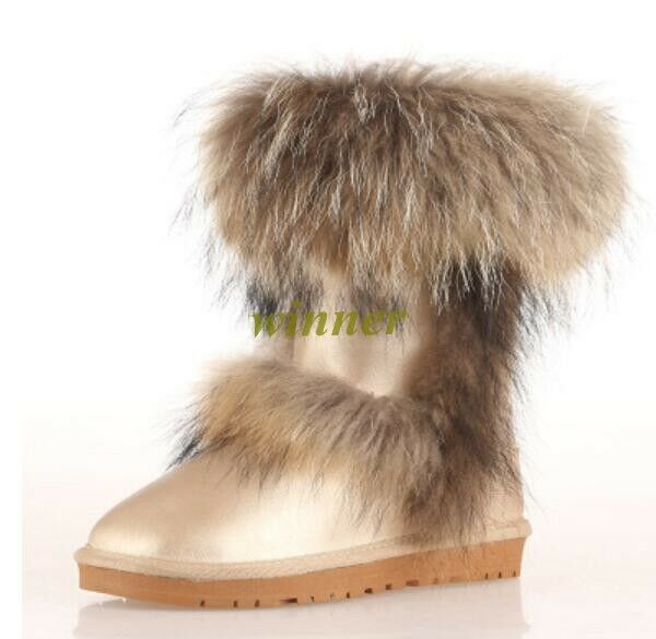 Womens Winter Warm Genuine Leather Leather Leather Fox Fur Thicken Flat Heel Ankle Boots shoes@ 6ab4c1