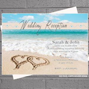 Image Is Loading Personalised Beach Heart Abroad Wedding Reception Invitations X