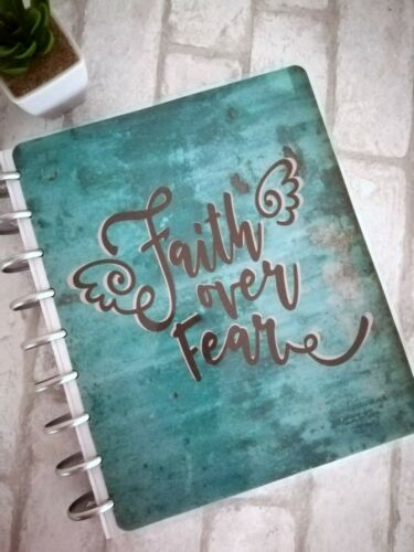 Vintage Aged Aqua Metal Patina Rustic FAITH Over FEAR Disc Bound PLANNER COVER