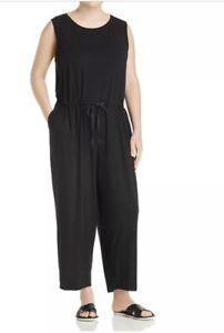 Size S Eileen Fisher Black Stretch Tencel Jersey Drawstring Jumpsuit $318 L