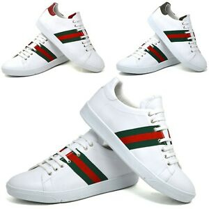 mens white  black casual faux leather trainers