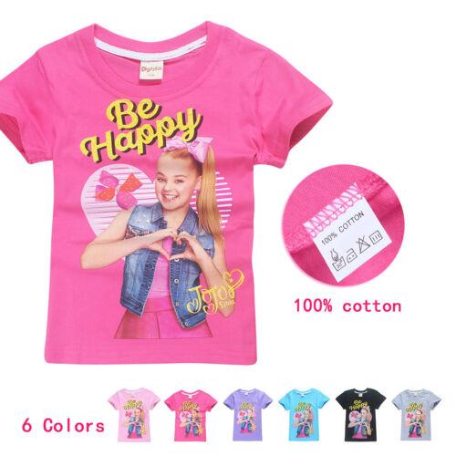 Kid Girl JOJO SIWA Summer Cotton Short Sleeve T-shirt Tops Holiday Birthday Gift
