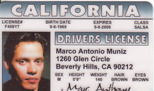 Marco Marc Anthony  novelty id card Drivers License mark