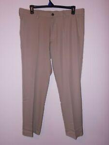 Khaki 40x32 Haggar H26 Mens Performance 4 Way Stretch Classic Fit Trouser Pants Pants Clothing