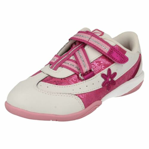 Niñas Clarks rosa Blanco Trainer Cica Daisy Diva xH0xprw