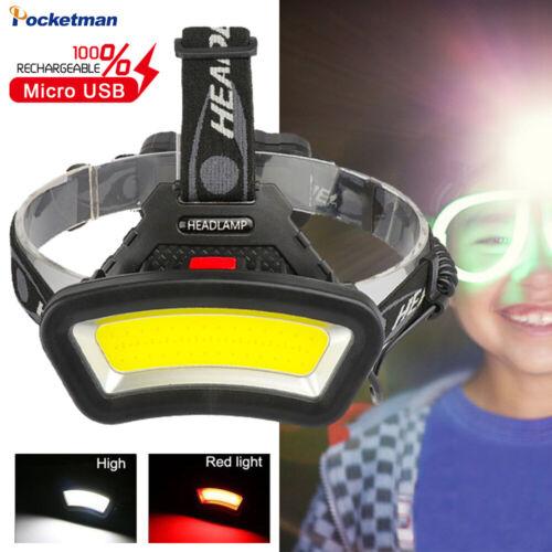 Bright 65000LM COB LED Headlamp USB Rechargeable Headlight Lantern Hunting Lamp
