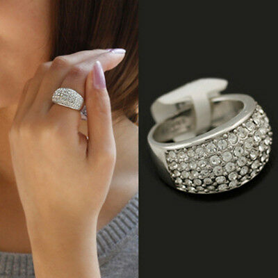 Chic Fashion Women Small Silver Full Rhinestones Crystal Ring Jewelry Gift New