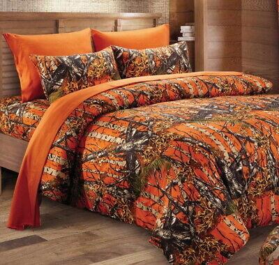 7pc Queen White Camo Comforter Bed In A, Orange Camo Queen Bedding