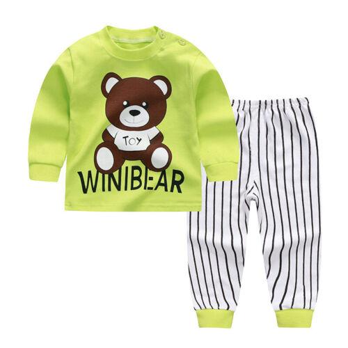 Boys Girls Baby Children 2pcs Cartoon Printed Pajamas Round Neck Tops Pants Set
