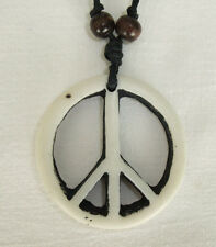 Resin Carved Bone Style Peace Symbol on Cord Necklace - CND Hippy Boho Yin Yang