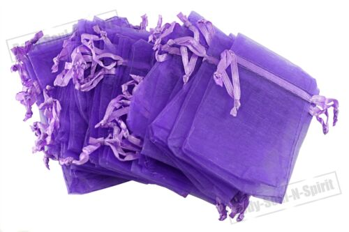 100 Purple 7x9cm Organza Sheer Drawstring Bag Birthday Wedding Party Favor Gift