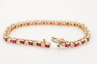 "Estate $1200 7ct Square AAA+++ Ruby Diamond 14k Gold Over Tennis 7.25"" Bracelet"