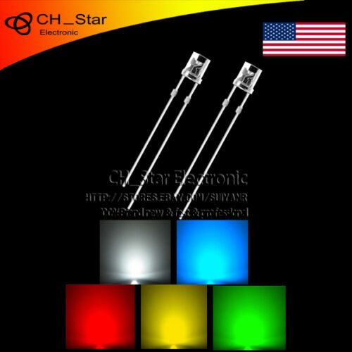 5colors 500pcs 3mm LED Diodes Flat top Red//Green//Blue//Yellow//White Mix Kits