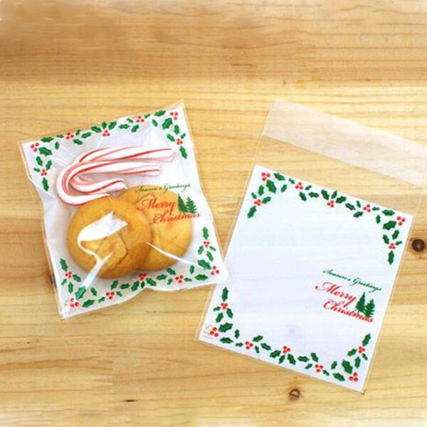 Self adhesive green merry xmas cello cellophane party treat cookie candy bag