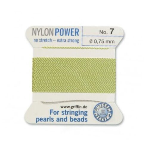 JADE GREEN NYLON POWER SILKY THREAD 0.75mm STRINGING PEARLS /& BEADS GRIFFIN 7