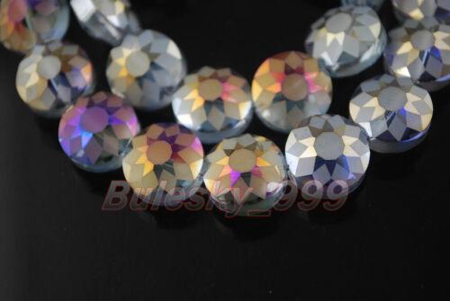 10pcs 14x9mm polonais Blotter à Facettes Verre Cristal À faire soi-même Loose Spacer Beads