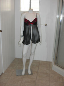 Inner-Secrets-Gorgeous-Red-Black-Sheer-Baby-Doll-Top-Size-L