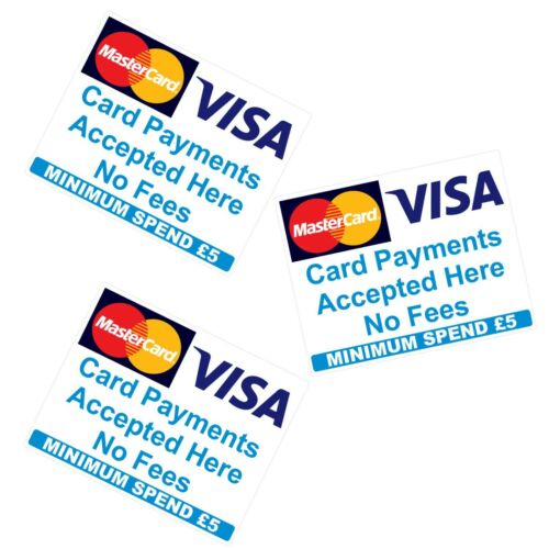 18 Mastercard Visa £5 Minimum spend Card  Payments  Accepted Stickers  Shop Taxi