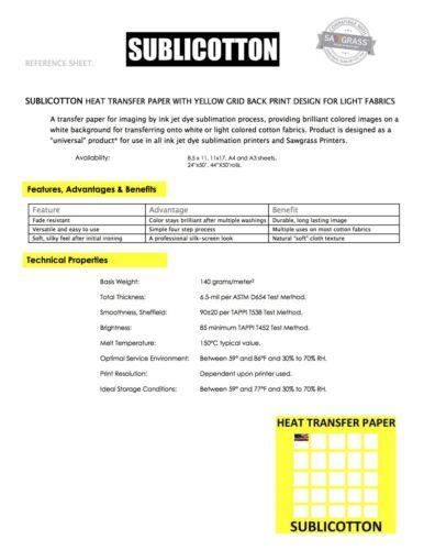"Sublimation COMBO SUBLIPAPER 100Sh COTTONLIGHT 20Sh COTTONDARK 10Sh 8.5""x11"""