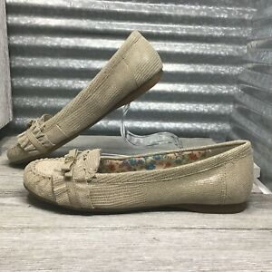 Anne-Klein-Leather-Women-Loafer-Comfort-Moc-Texture-Reptile-Slip-On-Flat-Sz-6-5
