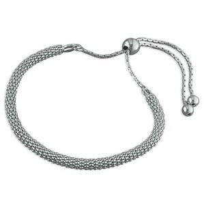 "925 Sterling Silver Round Mirror//Popcorn Chain Bracelet 19cm//7.5/"" Christmas Gift"