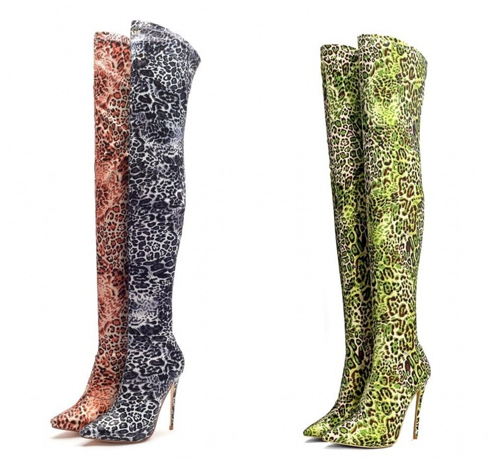 Women Pointy Toe Over The Knee Stilettos Boots Pull On Thigh Stretchy Plus Size
