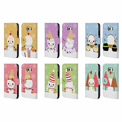 HEAD CASE DESIGNS SNOWMEN LEATHER BOOK WALLET CASE COVER FOR SAMSUNG PHONES 1