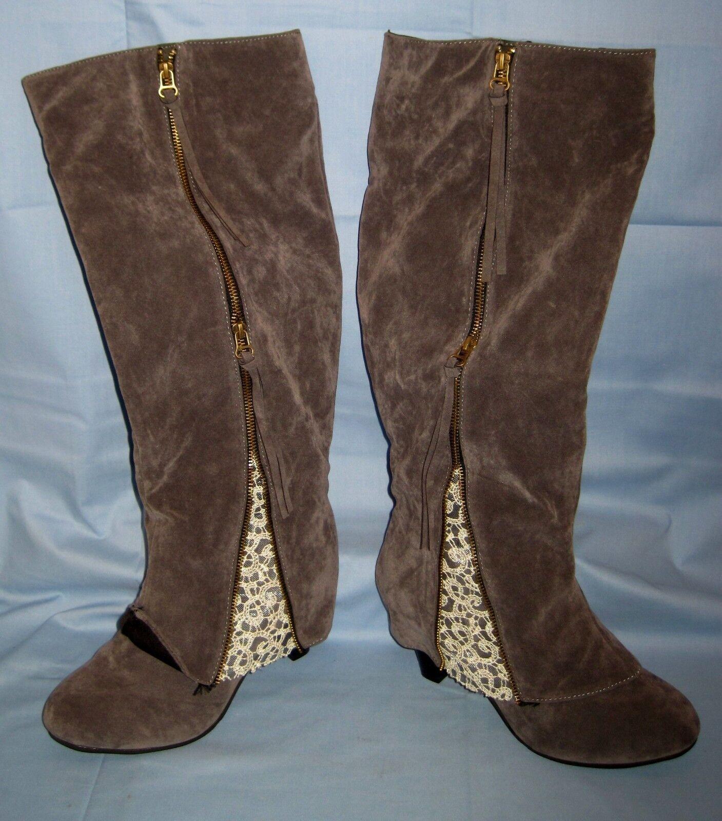 Women's Faux Suede/Gray W/Lace/Zipper Pockets Size 42 7 1/2 - 8 BOOTS!