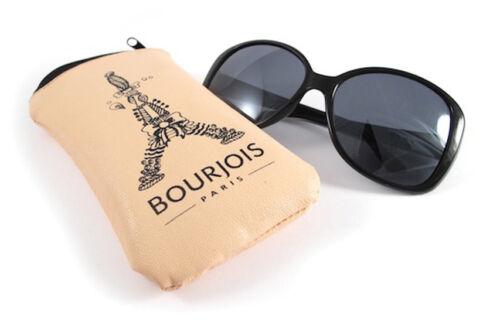 Ladies Fabulous Designer Black Sunglasses by Bourjois Paris Leather Zip Case New