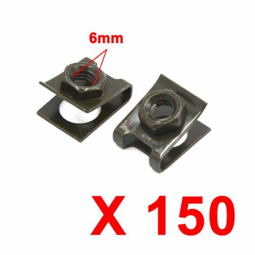 150Pcs 6mm Hole Metal Rivets Screw Type Fastener Door Panel Clips for Car