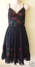 Last One! Betsey Johnson 100% Silk Tin Can Roses A-Line Spaghetti Strap Dress 6