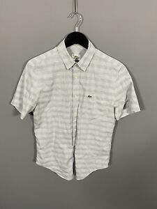 LACOSTE-Short-Sleeved-Shirt-Small-Grey-Check-Great-Condition-Men-s