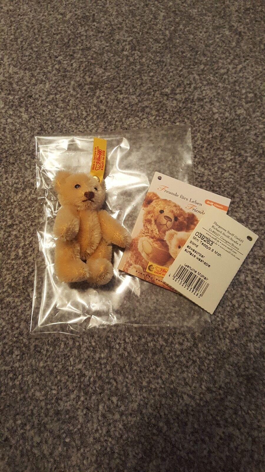 Steiff 039263 MINI teddyb - 8cm-teddybar Mohair-BIONDI-Ear pulsante
