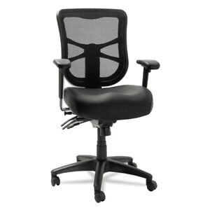 Alera Mesh Mid-Back Multifunction Chair Black Leather EL4215 NEW
