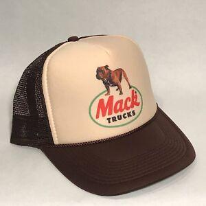 Mack-Trucks-Trucker-Hat-Brown-Bulldog-Logo-Vintage-Style-Snapback-Cap