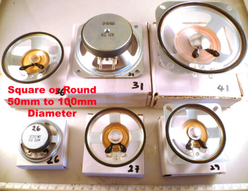 Mylar Speaker 8 Ohm Range 50 to 100mm Round or Square Outdoor Use OM0940A