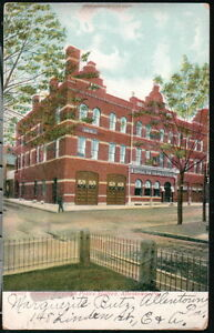 ALLENTOWN-PA-Central-Fire-amp-Police-Station-Antique-Postcard-Vtg-Town-View-Old