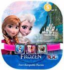 Disney Frozen Interchangeable 3 Charms Pink Strecthy Bracelet Anna Olaf Elsa