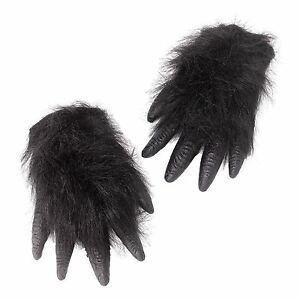 Image is loading Adult-Black-Ape-Gorilla-Costume-Gloves-Hands-Chimp-  sc 1 st  eBay & Adult Black Ape Gorilla Costume Gloves Hands Chimp Furry Hairy ...