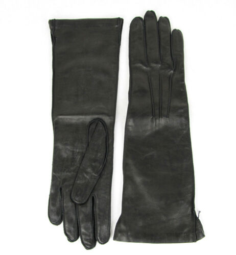$420 NEW Authentic Bottega Venega Womens Long Leather Gloves Black 304902 1000