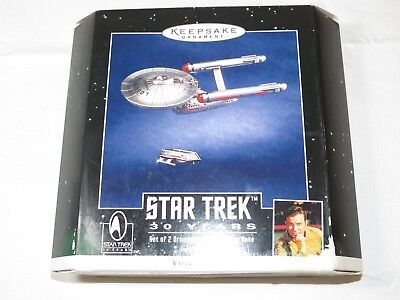 Hallmark Keepsake 2 Ornaments Star Trek 30 Years Voice Magic **L R front of box