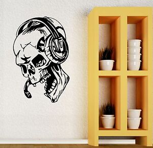 Image Is Loading Gamer Wall Stickers Vinyl Decal Play Skull Music