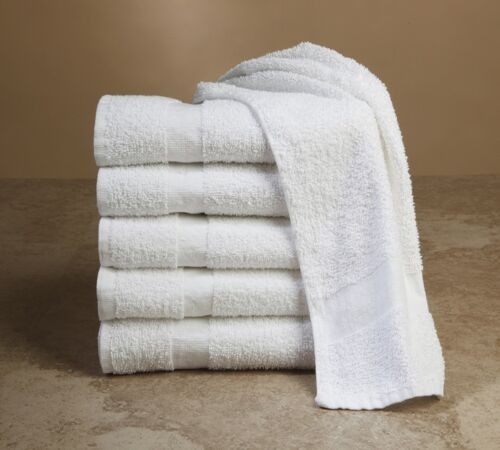 60 new white 16x27 cotton blend terry hand towels salon//gym 3# longevity soft