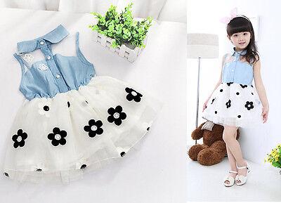 Baby Girl Flower Party Dress Tutu Bebe Clothing Kids Outfit Children Denim Skirt