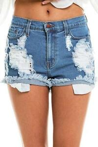 Acid Wash High Waist Rise Cutoff Distressed High Waist Denim