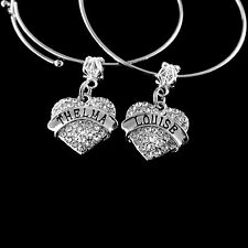 Thelma and Louise 2 bangle bracelets  2 heart charms   Best friends forever gift