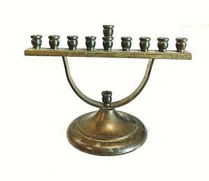 Vintage-Mid-Century-Judaica-Handcrafted-In-Israel-by-Ktav-Small-Brass-Menorah