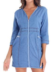 Women's Three Quarter Sleeve Zipper V Neck Denim Dress Casual Mini Jeans Dresses