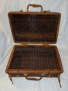 Vintage Rattan Wicker Picnic Basket Suitcase Kitchen Storage Beach Cookout